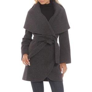 Tahari Marla Belted Wool Blend Charcoal Wrap Coat
